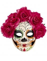 Tag der Toten Maske mit Blumenkranz für Erwachsene