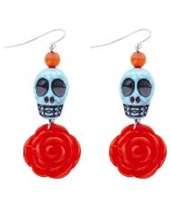 Tag der Toten-Ohrringe Kostüm-Accessoire schmuck blau-orange-rot