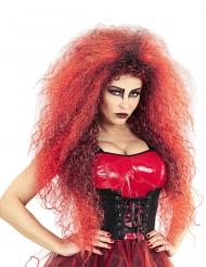 Dämonen-Perücke für Damen Halloween-Zubehör rot-schwarz