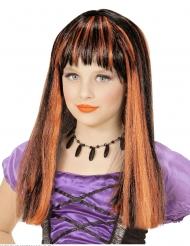 Feurige Hexen-Perücke für Mädchen Halloween-Accessoire schwarz-orange