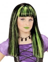 Verhexte Halloween-Perücke für Kinder Accessoire schwarz-grün