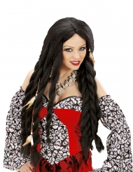 Voodoo-Langhaar-Perücke für Damen Zubehör für Halloween schwarz