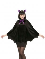 Fledermaus-Umhang für Damen Poncho für Halloween schwarz