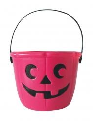 Kürbis-Eimer für Süßigkeiten Halloween-Zubehör pink