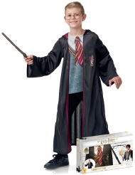 Harry Potter™-Kinderkostüm im Geschenke-Koffer schwarz-rot-grau