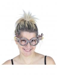Lustige Rentier-Brille Accessoire für Weihnachten braun-beige