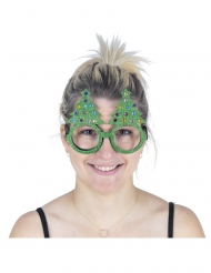 Humorvolle Tannenbaum-Brille Accessoire für Weihnachten grün