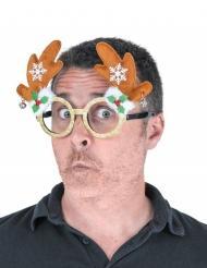 Humorvolle Rentier-Brille Accessoire für Weihnachten braun-grün-rot