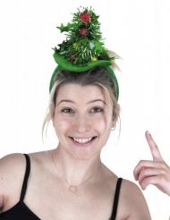 Festlicher Haarreif mit Tannenbaum Accessoire für Weihnachten grün-bunt