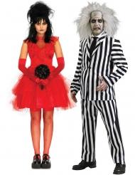 Beetlejuice™-Partnerkostüm für Damen und Herren Halloween-Verkleidung rot-schwarz-weiss