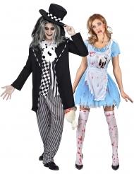 Zombie-Alice und Hutmacher Paar-Kostüm Halloween-Paarkostüm