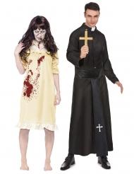Exorzisten-Paarkostüm Halloween-Paarkostüm schwarz-weiss