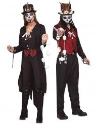 Voodoo-Paarkostüm für Erwachsene Halloween-Verkleidung schwarz-rot