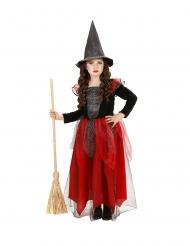 Hexen-Kostüm Mädchen-Verkleidung Halloween und Karneval schwarz-rot-grau