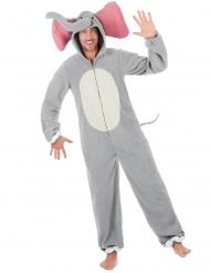 Lustiges Elefanten-Kostüm für Herren Tier-Overall grau-weiss-rosa
