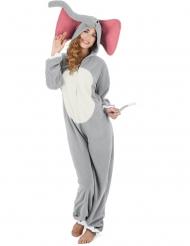 Elefanten-Overall für Damen Tierkostüm grau-weiss-rosa