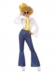 70´s Disco-Damenkostüm Karnevals-Verkleidung blau-weiss