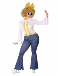 70er-Jahre Disco-Kostüm für Damen in Übergröße blau-weiss