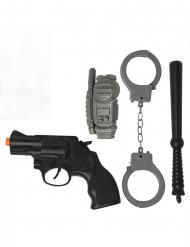 Polizei-Kostüm-Set 4-teiliges Zubehör schwarz-grau