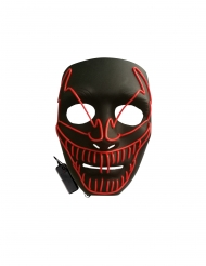 Leuchtmaske-Killerclown für Erwachsene Halloween schwarz-rot