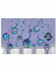Battle Royale Partydeko hängend 12 Stück blau-violett 13 cm