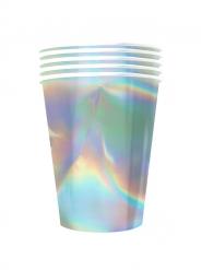 Glänzender Pappbecher Regenbogenfarben 20 Stück bunt 530 ml