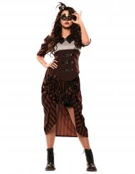 Extravagantes Steampunk-Damenkostüm für Fasching schwarz-braun-weiss