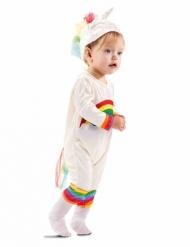 Regenbogen-Einhornkostüm für Kleinkinder Karneval weiss-bunt