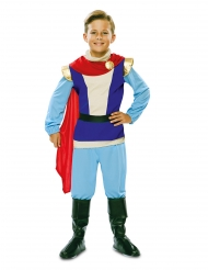 Edles Prinz Charming-Kinderkostüm für Karneval blau-rot