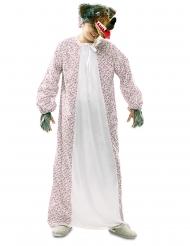 Böser Wolf-Kostüm Großmutter-Verkleidung für Fasching weiss-rot-braun