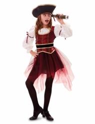 Piratin-Kostüm für Mädchen Freibeuterin-Faschingskostüm rot-schwarz-weiss