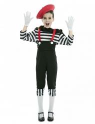 Pantomime-Mädchenkostüm für Karneval Faschings-Verkleidung schwarz-weiss-rot
