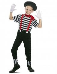 Pantomime-Kinderkostüm für Jungen Karnevals-Verkleidung schwarz-weiss-rot