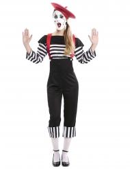 Pantomimische-Verkleidung für Karneval Damenkostüm schwarz-weiss-rot