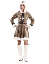 Kuscheliges Eskimo-Kostüm für Damen Faschings-Verkleidung braun-weiss