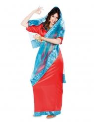 Bollywoood-Tänzerin Damenkostüm orientalische-Verkleidung rot-blau