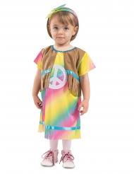 Süßes Hippie-Kostüm für Kleinkinder 60er-Jahre-Verkleidung bunt