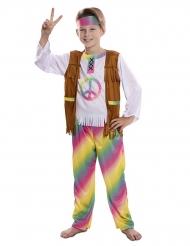 Flippiges Hippie-Kostüm für Jungen 60er-Jahre braun-bunt
