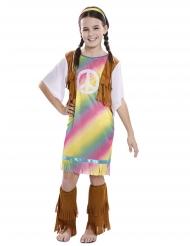 Hippie-Mädchenkostüm für Kinder Karnevals-Verkleidung der 60er-Jahre bunt