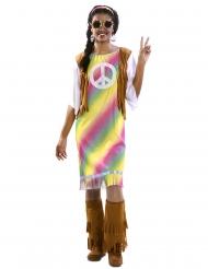 Flippiges Hippie-Kostüm für Damen 60er-Verkleidung Batik bunt