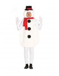 Winterliches Schneemann-Kostüm für Erwachsene weiss-rot-schwarz