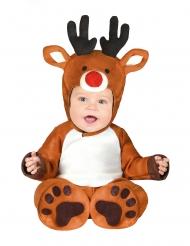 Rentier-Kostüm für Kleinkinder weihnachtliches-Babykostüm braun-weiss