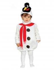 Niedliches Schneemann-Kostüm für Kinder winterliche-Verkleidung weiss-rot-schwarz