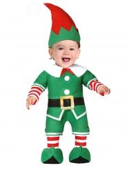 Wichtel-Kostüm für Kleinkinder weihnachtliche-Verkleidung grün-weiss-rot
