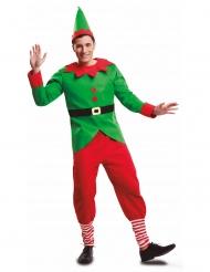 Elf-Kostüm für Weihnachten Herrenkostüm rot-grün