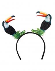 Tropischer Tukan-Haarreif für Fasching Kostüm-Accessoire schwarz-grün