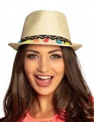 Sommerlicher-Hut mit Pompons Accessoire beigefarben-bunt