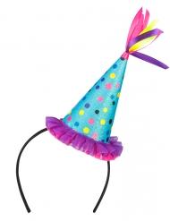Partyhut mit Haarreif Accessoire für Erwachsene bunt