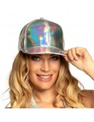 Stilvolle Mütze holografische Kopfbedeckung für Damen silberfarben