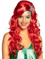 Hübsche Meerjungfrauen-Perücke für Karneval Accessoire rot